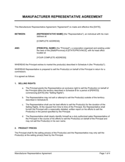 Manufacturer Representative Agreement