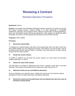 How To Renew A Contract