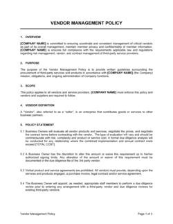 Vendor Management Policy