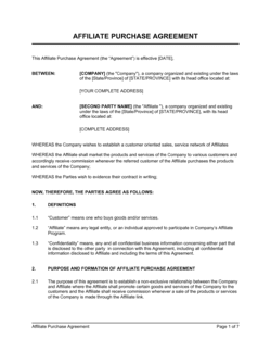 Affiliate Purchase Agreement