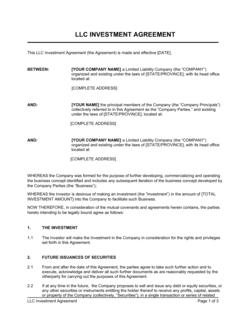 LLC Investment Agreement