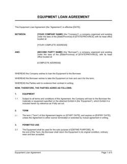 Equipment Loan Agreement
