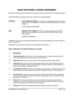 SaaS Software License Agreement
