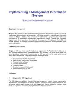 Implementing Management Information Systems