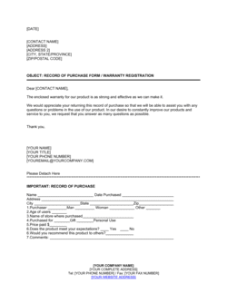 Record of Purchase Form, Warranty Registration