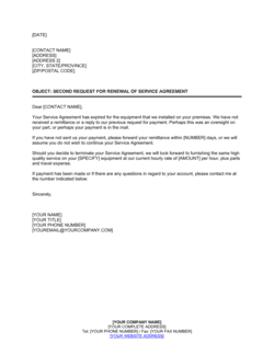 Second Request for Renewal of Service Agreement
