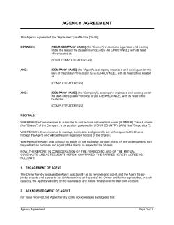 Agency Agreement Corporate Duties