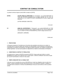 Contrat de consultation Version courte