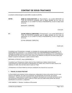 Contrat de sous-traitance