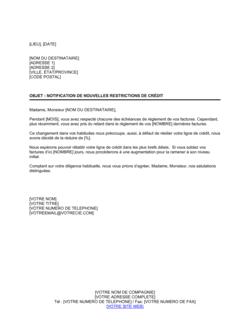 Notification de nouvelles restrictions sur le crédit