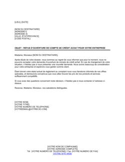 Notification de refus d'ouverture de compte de crédit d'achat