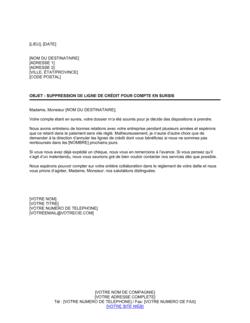 Notification de suppression de crédit sur un compte en sursis