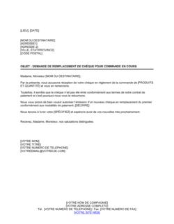 Demande de remplacement de chèque relatif à une commande en cours