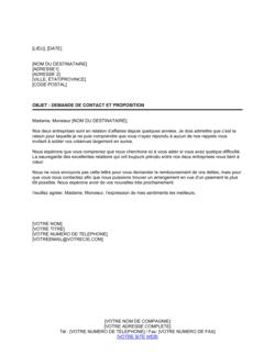 Lettre de recouvrement Demande de contact et proposition