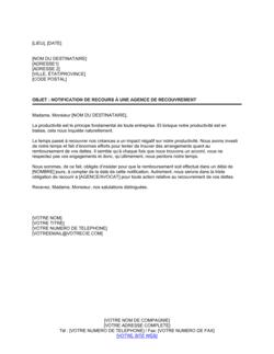 Lettre de recouvrement Notification de recours à une agence