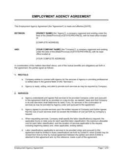Employment Agency Agreement