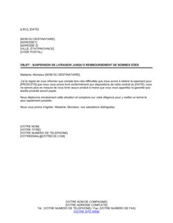 Notification de suspension de livraison avant réception de paiement
