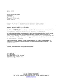 Transmission de compte de créances à une agence pour recouvrement