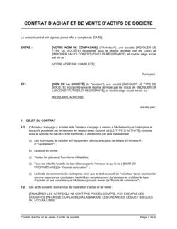 Contrat d'achat et de vente d'actifs de société
