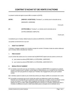 Contrat d'achat et de vente d'actions