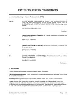 Contrat de droit de premier refus