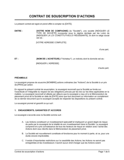 Contrat de souscription d'actions