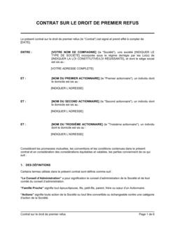 Contrat sur droit de premier refus