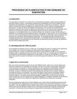 Processus de planification d'une demande de subvention