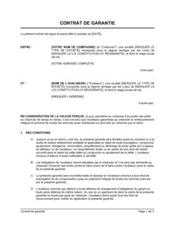 Contrat de garantie