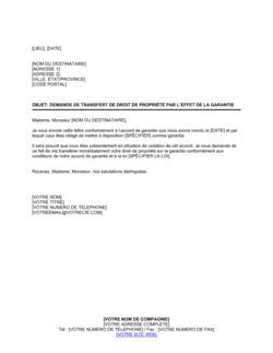 Demande de transfert de droit de propriété par la garantie