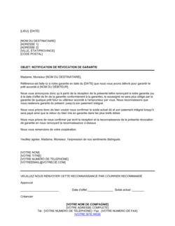 Notification de révocation de garantie