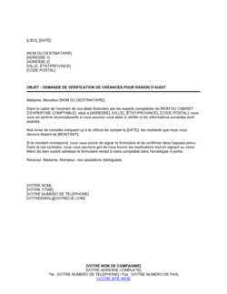 Demande de vérification de créance pour raison d'audit
