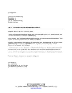 Notification de remboursement partiel
