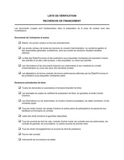 Liste de vérification Recherche de financement