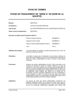 Résumé de conditions Financement de Série A