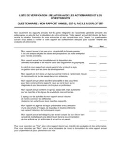 Liste de vérification Relations avec les actionnaires et les investisseurs
