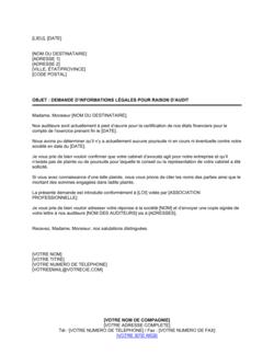 Demande d'informations légales pour raison d'audit