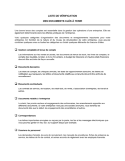 Liste de vérification Documents clés à tenir