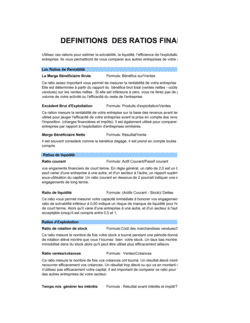 Calculateur de ratios financiers