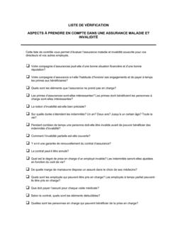 Liste de vérification Assurance maladie et invalidité