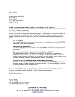 Lettre de notification de la politique relative aux absences