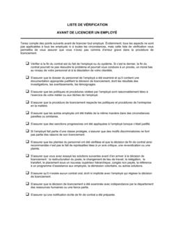 Liste de vérification Pour le licenciement d'un employé