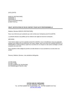 Notification de fin de contrat pour faute professionnelle