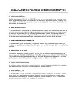 Déclaration de politique de non-discrimination