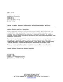 Lettre pour remboursement des frais d'entretien des véhicules