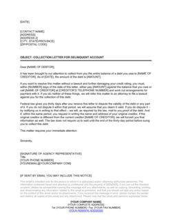 Collection Letter By Collection Agency