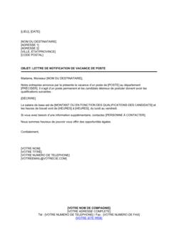 Lettre de notification de vacance de poste
