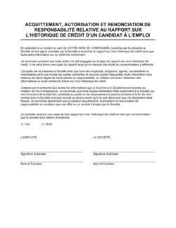 Acquittement et autorisation de divulgation d'historique de crédit