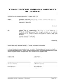 Autorisation de transmission d'information