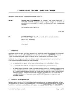 Contrat de travail avec un cadre